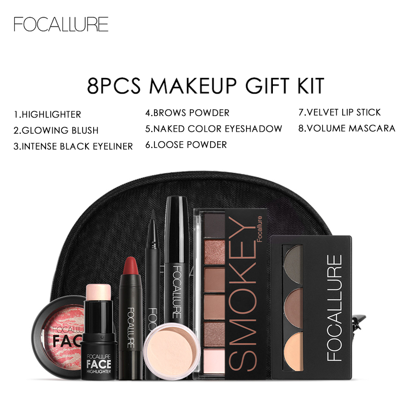 Focallure 8 unids/set maquillaje incluyendo lápiz labial delineador rímel sombra para ceja polvo Blush marcador de cosméticos