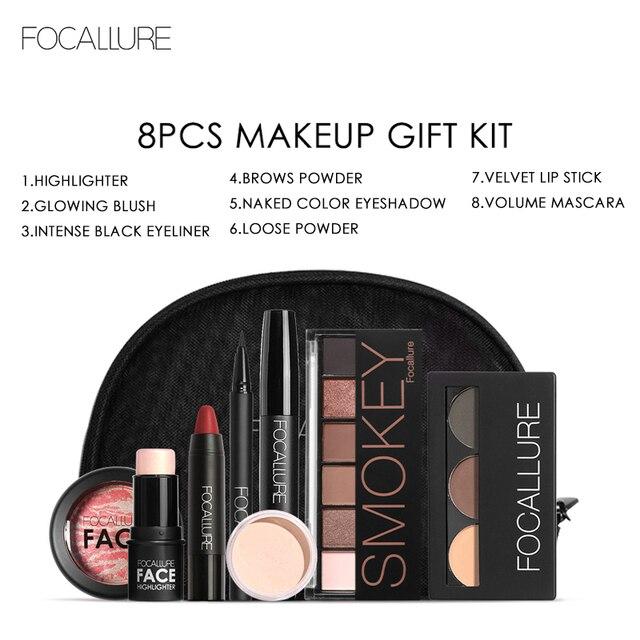 Focallure 8 יח'\סט איפור סט כולל שפתון, אייליינר, מסקרה, צלליות, גבות אבקת איפור ערכת נשים קוסמטיקה תיק