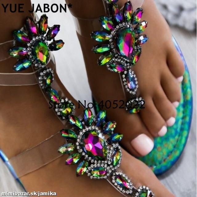 HTB1G7yWAoR1BeNjy0Fmq6z0wVXao 2019 Woman Sandals Women Shoes Rhinestones Gladiator Flat Sandals Crystal Chaussure Plus Size 43 tenis feminino Green Flip Flops