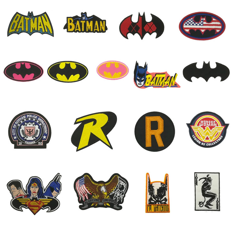 SUPERHERO SUPERMAN BATMAN WONDER WOMAN CAPTAIN AMERICA EMBROIDERED IRON ON PATCH