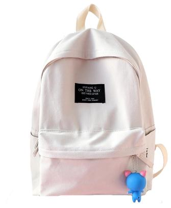 Amasie cotton fashion brand design cute adorable white cotton backpack bags for daily life in stock EGTA003