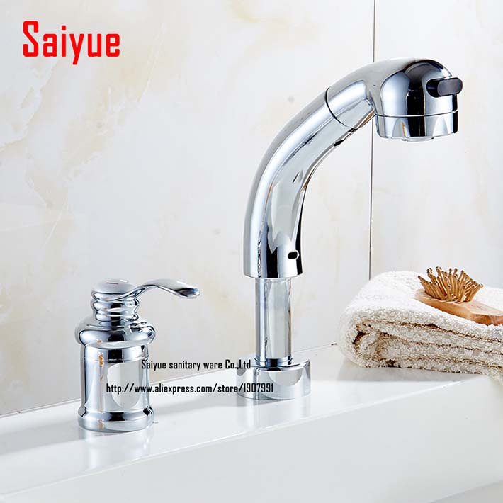 Widespread Chrome deck Pull Out Mounthed Bathroom Faucet For Basin ...