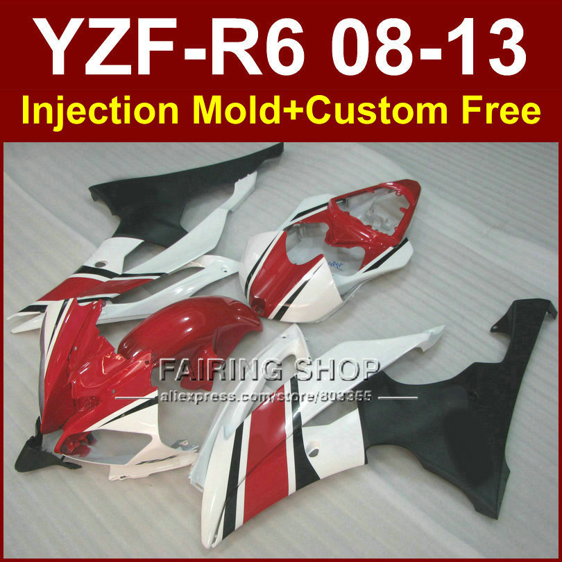 Red white Injection mold custom fairings for YAMAHA 2008 2009 2011 2013 YZF R6 body parts YZF R6 08 13 ABS plastic YZF1000 R6