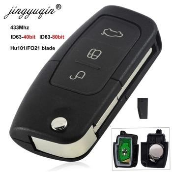Jingyuqin 433 МГц 4D63 4D60 Автомобильный Дистанционный ключ для Ford Fusion Focus Mondeo Fiesta Galaxy HU101 FO21 Blade автомобильные флип-ключи