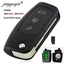 Jingyuqin 433MHz 4D63 4D60 voiture clé à distance pour Ford Fusion Focus Mondeo Fiesta Galaxy HU101 FO21 lame véhicule touches