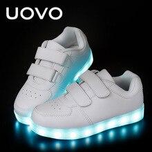 UOVO Enfants Lumineux Chaussures Garçons et Filles LED Blanc Chaussures USB Chargeur Casual Sneakers Lumière Up Néon Lueur Chaussures Eur 25-35 #