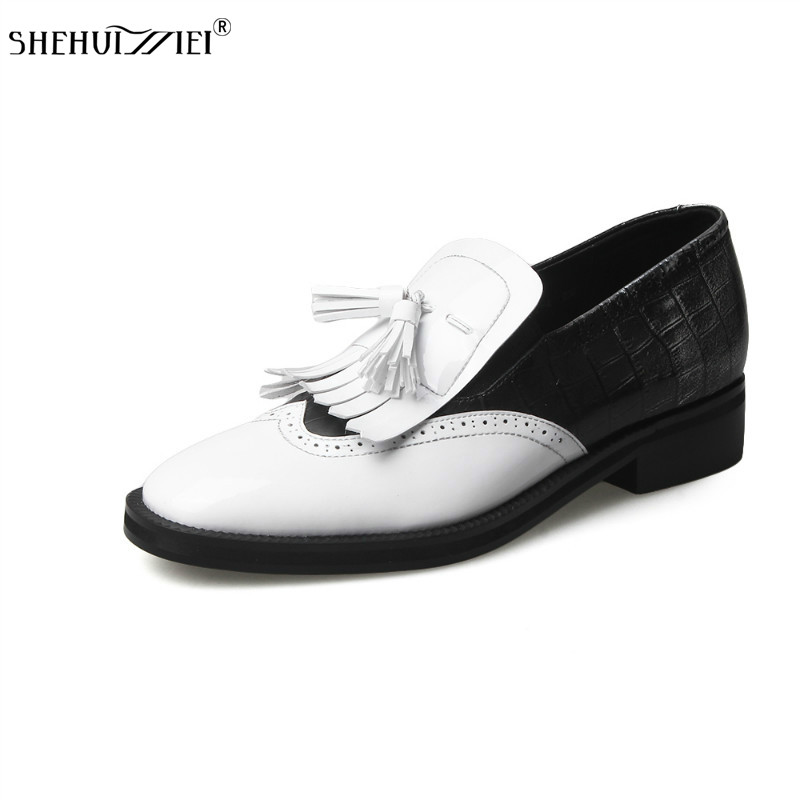 SHEHUIMEI British Style Oxford Shoes for Women Genuine leather Brogues Women with Tassels Platform Fringe Flats Shoes Woman 2018 shehuimei brand 2018 women flats patent leather oxford shoes woman loafers vintage british style round toe handmade casual shoes