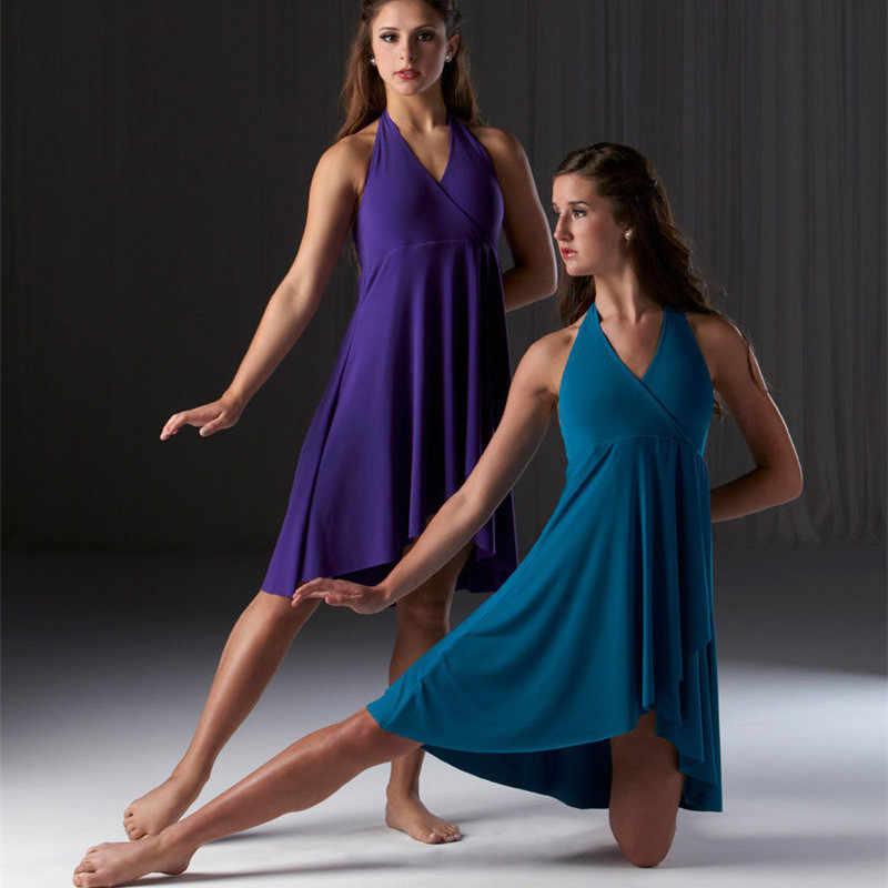 Танцевальное платье для девочек-подростков, лирическое танцевальное платье, балетное платье, платье с v-образным вырезом и вырезом на спине для торжества