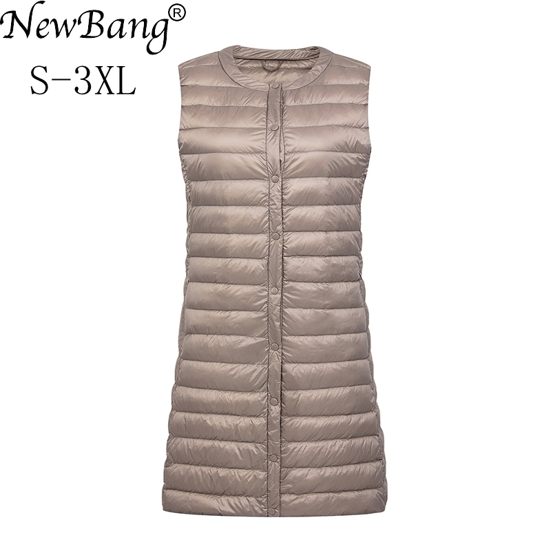 NewBang Brand Ultra Light Down Vest Women Long Vest Windproof Lightweight Warm Waistcoat Female Down Coat Long Slim Sleeveless