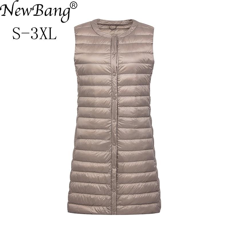 NewBang Brand Ultra Light Down Vest Women Long Vest Windproof Lightweight Warm Waistcoat Female Down Coat Long Slim Sleeveless