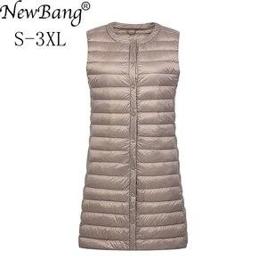 Image 1 - NewBang מותג קל במיוחד למטה אפוד נשים ארוך אפוד קל Windproof חם חזייה נשי למטה מעיל ארוך Slim ללא שרוולים