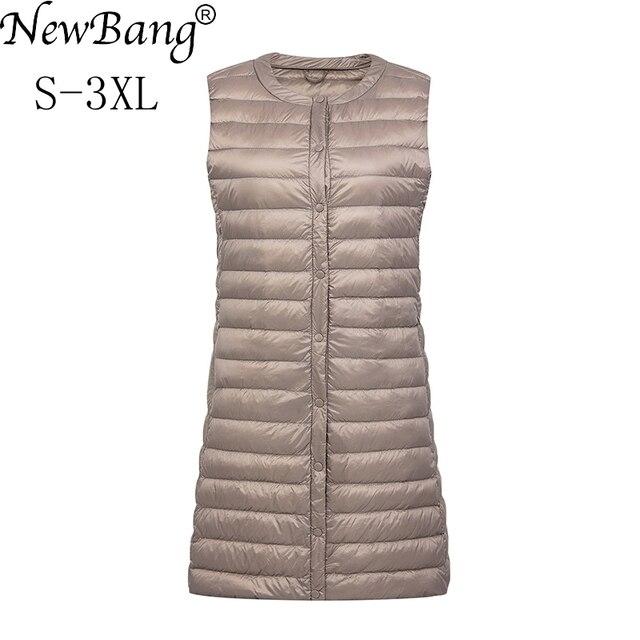 NewBang מותג קל במיוחד למטה אפוד נשים ארוך אפוד קל Windproof חם חזייה נשי למטה מעיל ארוך Slim ללא שרוולים