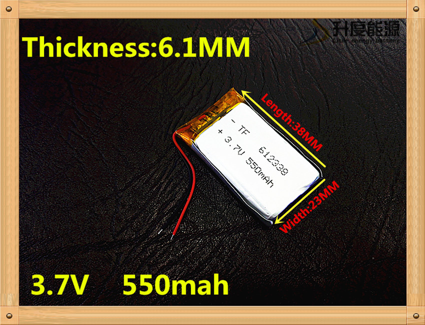 3.7V lithium polymer battery 062338 612338 550mAh MP3 MP4 GPS Bluetooth 6.1*23*38mm lithium battery small stereo bluetooth GPS 3 7v lithium polymer battery 302033 100mah mp3 mp4 battery audio clip small toys