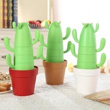 4 pieces /set Stackable Cactus Plant Mugs Set for Coffee or Tea Creative Home Cups And Cute Southwestern Decor coffee mug
