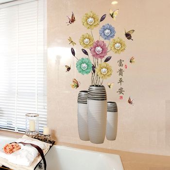 70*112cm Vase Flower Wall Stickers Art Butterfly Flowers Home Decor for Bedroom Vinyl DIY Wall Decals Lovely Rooms Decoration 8