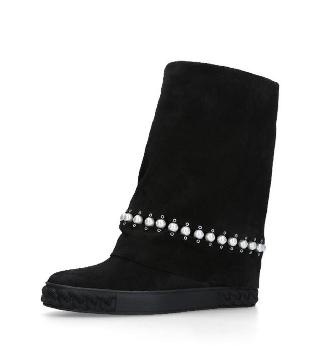 Black Suede Slip-on Pearl Embellished Women Knee High Boots Shoes Autumn Winter Gladiator Long Boots Shoes Woman Lady BootsBlack Suede Slip-on Pearl Embellished Women Knee High Boots Shoes Autumn Winter Gladiator Long Boots Shoes Woman Lady Boots