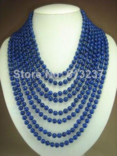 Nouveau mode charmant 8 rangées 6mm bleu lapis lazuli perles pierre collier de perles rondes pour les femmes cadeaux élégants 17-26 pouces BV201