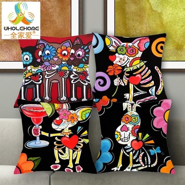 1 PCS 43*43cm Cute Sugar Skull Mouse Cushions Linen Cushion Cover Lovely  Animals Throw