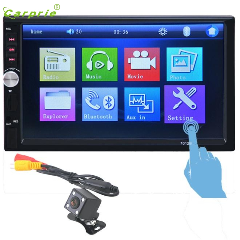 CARPRIE Hot Selling  In Dash Car Touch USB/SD/MP3/MP5 Player AUX FM Radio Stereo Bluetooth Double DIN+Camera Gift Mar 22 car usb sd aux adapter digital music changer mp3 converter for skoda octavia 2007 2011 fits select oem radios