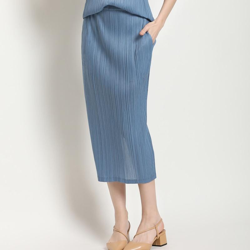 Changpleat 2019 الصيف الجديدة النساء التنانير Miyak مطوي الأزياء الصلبة انقسام ضئيلة مرونة الخصر أنيقة الكلاسيكية الإناث تنورة المد-في تنورة من ملابس نسائية على  مجموعة 1