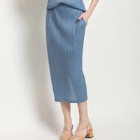 Changpleat 2019 summer New Women Skirts Miyak Pleated Fashion Solid Split Slim Elastic waist Elegant classic Female skirt Tide