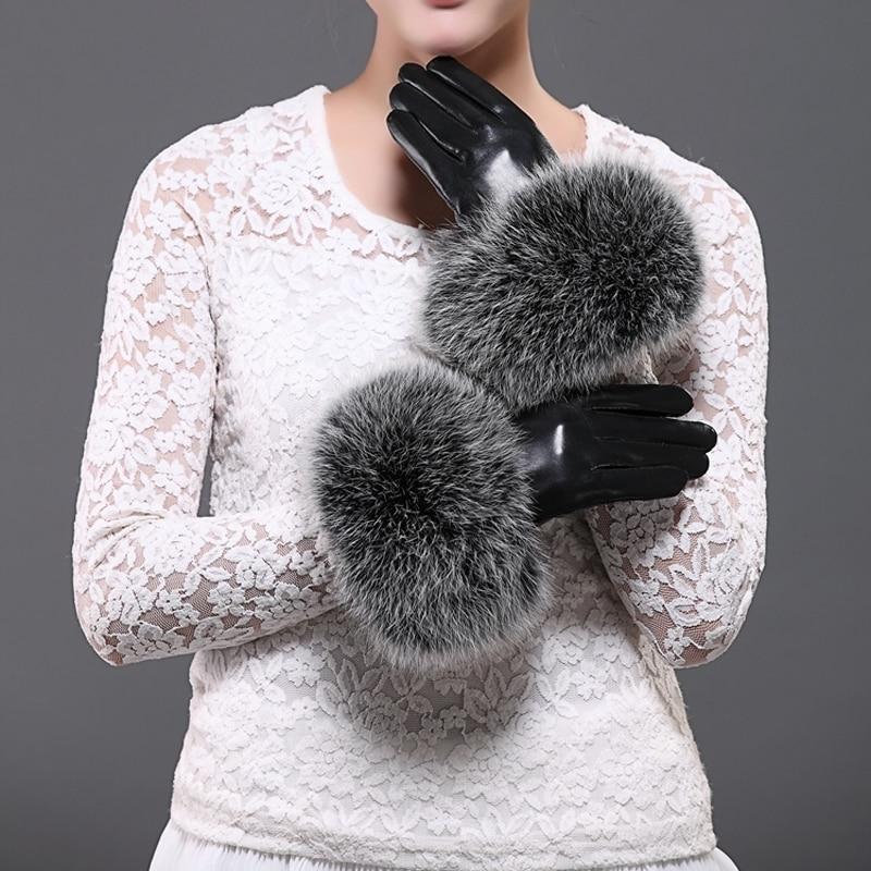Svadilfari Wholesale New 2019 Winter Female Luxury Style Warm Sheepskin Genuine Leather Fox Fur Gloves Driving Thickening Mitten