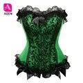 Mujeres sexy corset bustier top corsé overbust victoriana de estilo vintage brocade corsé sin tirantes floral satén verde, más púrpura