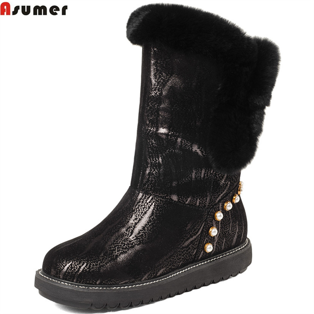 Asumer fashion winter new arrive women boots round toe ladies genuine leather boots flat with kid leather ankle boots asumer 2018 hot sale new arrive women boots fashion zipper black genuine leather pointed toe ladies boots simple mid calf boots