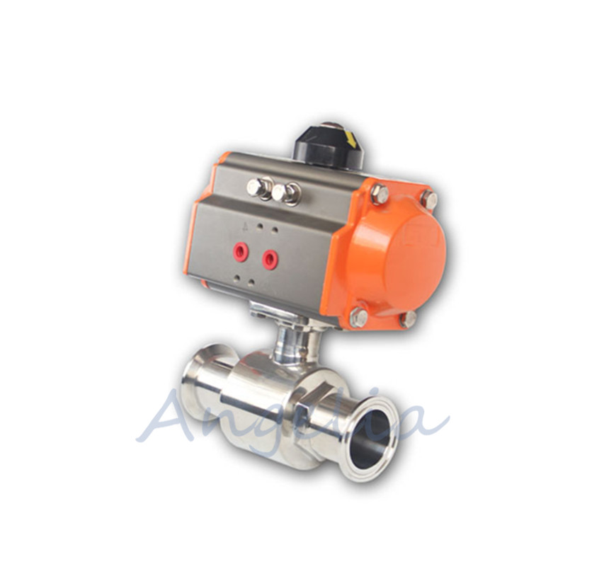 2 Stainless Steel 304 Tri-Clamp Ferrule Type Sanitary Pneumatic Ball Valve 2 sanitary stainless steel ball valve 2 way 304 quick installed food grade pneumatic valve double acting straight way valve
