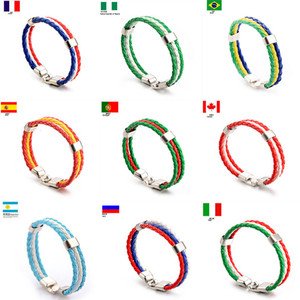Fashion Russia Spain France Brazil Flag Leather Team Bracelet Men High Quality Football Fans Couples Gift Jewelry(China)
