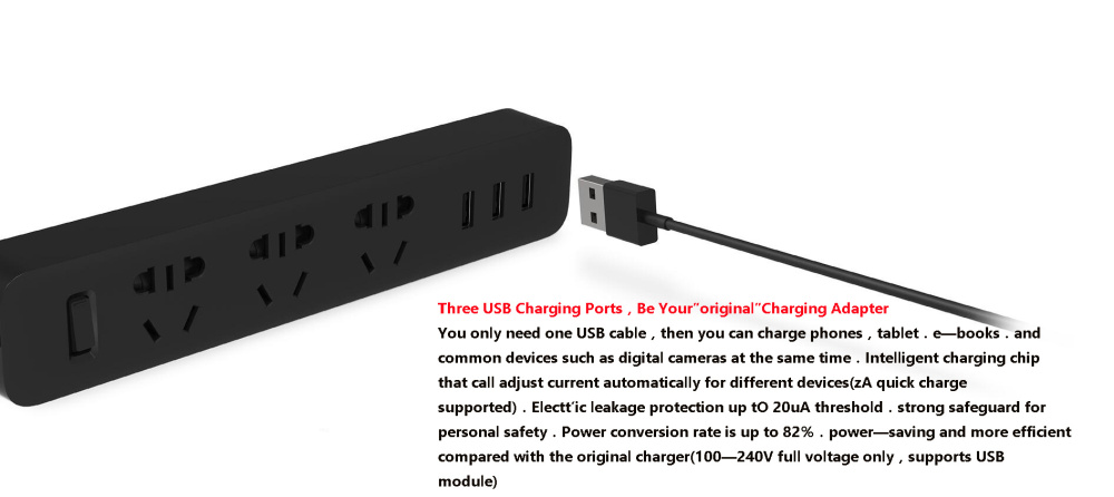 XiaoMi 3 USB Port Fast Charging 2.1A USB Smart Power Socket Power strip charger Portable Strip Plug Adapter For Phone H25 # (9)