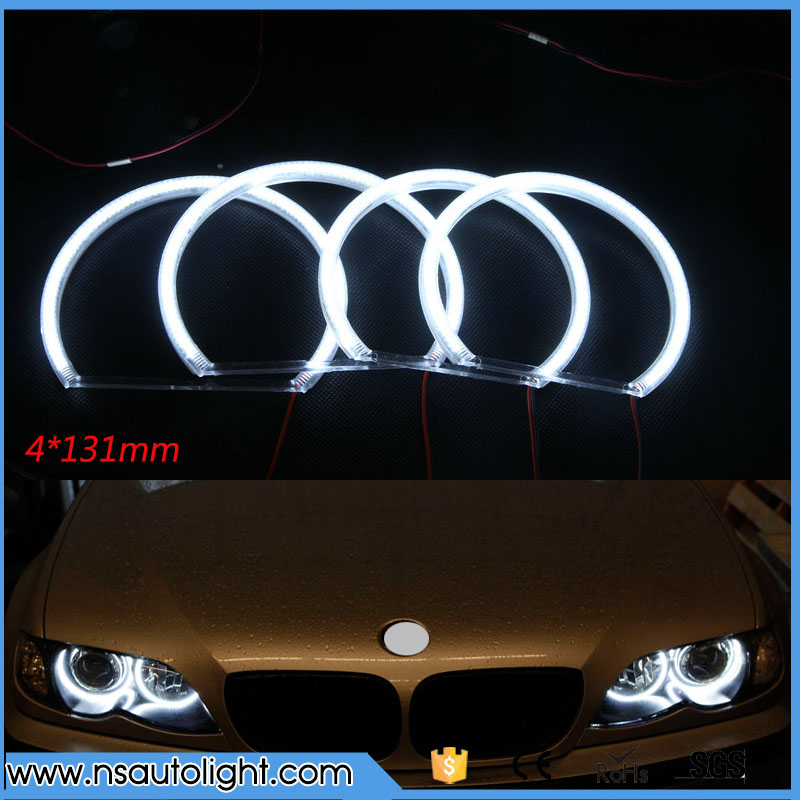 4x131mm 3014 SMD LED Angel Eyes Headlight Halo Ring for BMW E36 E38 E39 E46 E60 E92 with projector led rings white 3014 smd led angel eyes headlight halo ring marker 131mm 145mm for bmw e46 non projector