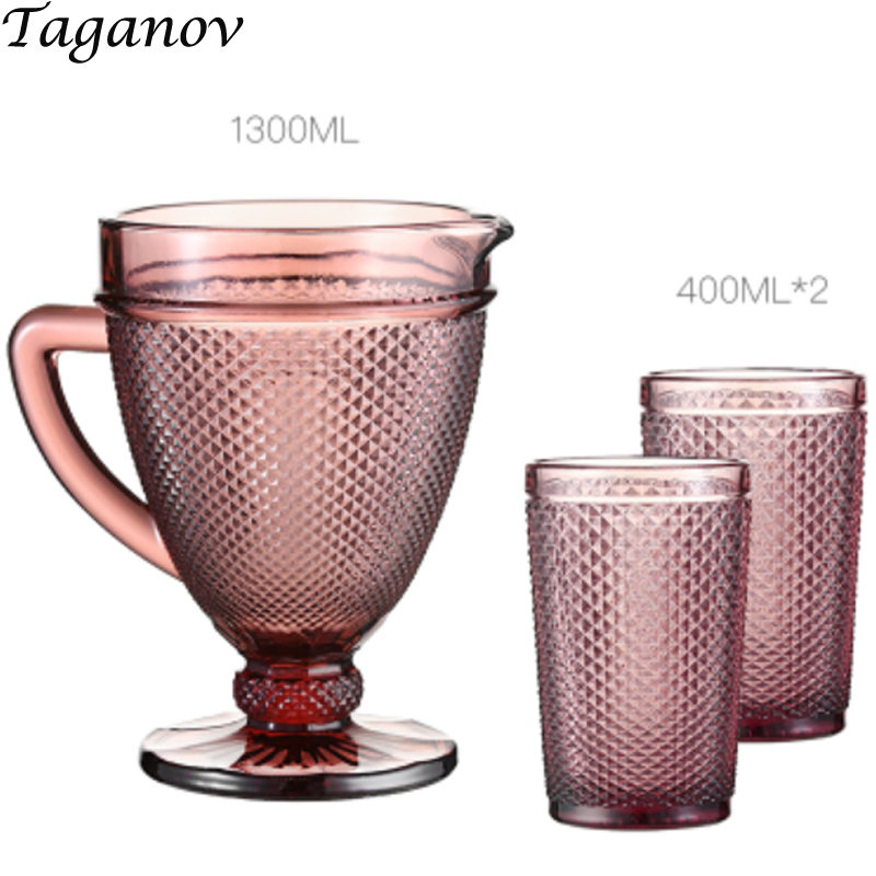Water Kettle Glass 1 3L Three piece Set 350ml 400ml 1300ml Tea Pot Red Blue Glass Drinkware Set Cool Drinking Weinglas Drink Cup in Other Glass from Home Garden