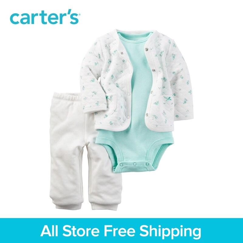 3pcs Mint striped bodysuit Padded Cardigan contton pants Set Carter's baby girl spring autumn clothing sets 121H346 knot detail striped bodysuit