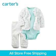 3pcs Mint striped bodysuit Padded Cardigan contton pants Set Carter's baby girl spring autumn clothing sets 121H346