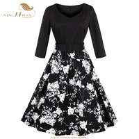 SISHION 4XL Plus Size Dresses White Floral Print Tunic Casual Swing Dress Vintage 3 4 Sleeve