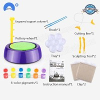 Free Shipping Arts Handmake Ceramic Machine Pottery Wheel Kids Craft Plastic Portable Educational DIY Toys