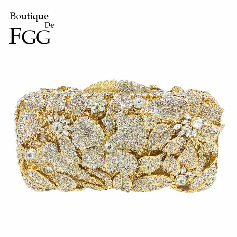 Boutique De FGG Gold Plated Silver Crystal Women Evening Bag Hollow Out Flower Rhinestone Handbag Purse
