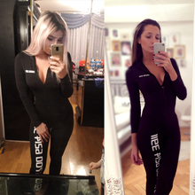 Black Sexy Bodycon Jumpsuit Romper Long Sleeve Bodysuit Women Zipper V Neck Jumpsuit Elegant Full Length Polyester 2018