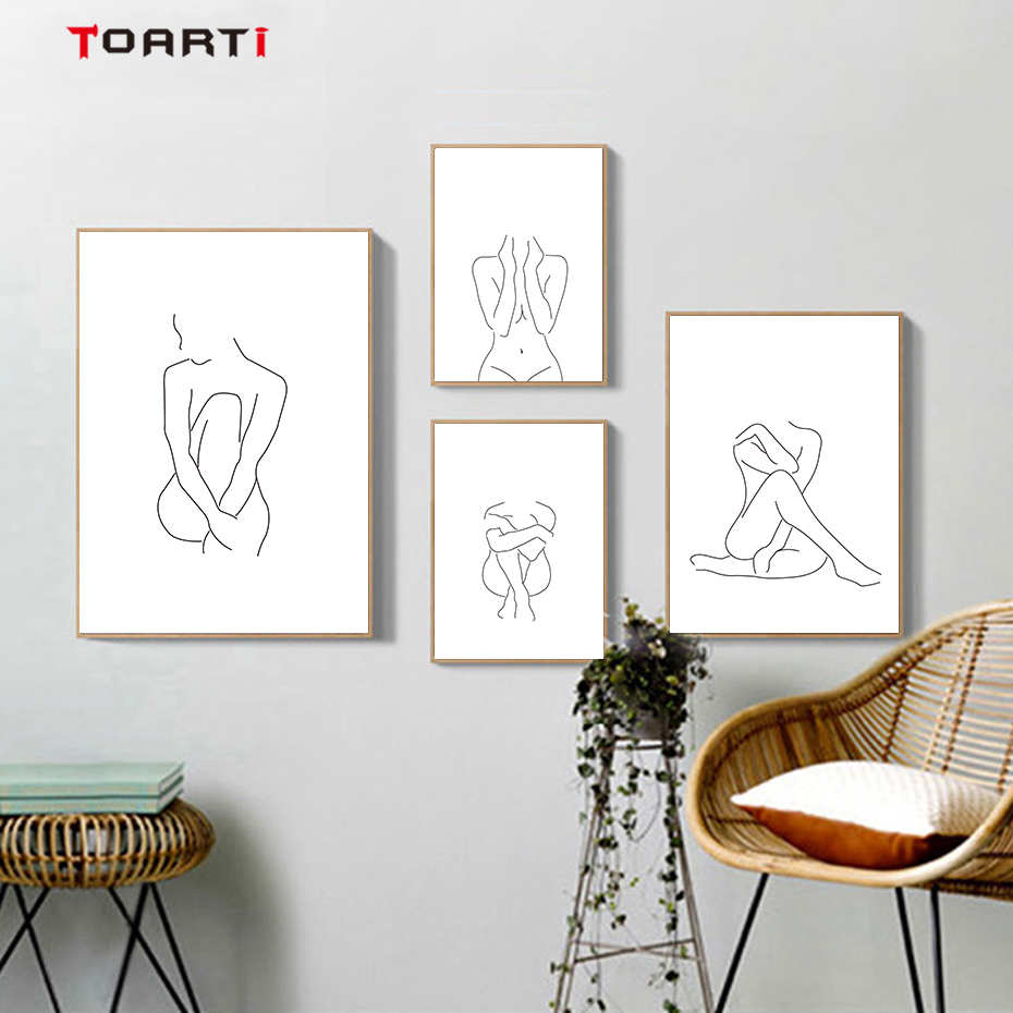 Modular Sexy Nude Woman Canvas Painting Minimalist Line Drawing Wall Art Nordic Posters&Prints Bedroom Home Decoration Pictures (1)