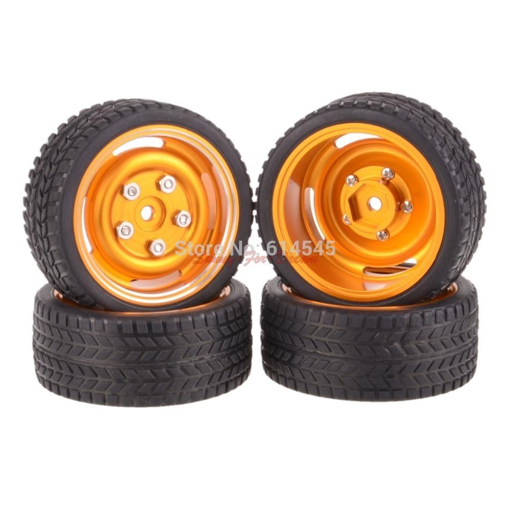 4PCS On-Road 12MM Hub HPI Redcat HSP Metal Wheel Rim & Tires 1/10 Car 104G-6087 4pcs rubber rc racing tires car on road wheel rim fit for hsp hpi 1 10 high quality rc car part diameter 68mm tires