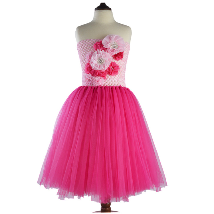 2017 Summer New Tulle Princess Dress for Girls Party and Wedding Costume Children Clothes Vestido Party Lace Dress Kids Hot Pink kids girls dresses for party and wedding 2016 summer lace flowers princess dress for girls clothes vestido pink yellow green