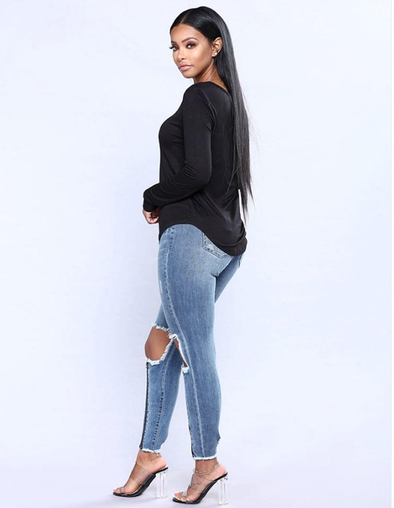 Super Fit Stripe Knee Ripped High Waist Denim Jeans