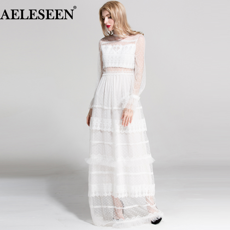 AELESEEN High Quality Sexy Long Dresses Summer 2018 Flare Sleeve Lace Embroidery Runway White / Black Hollow Out Maxi Long Dress