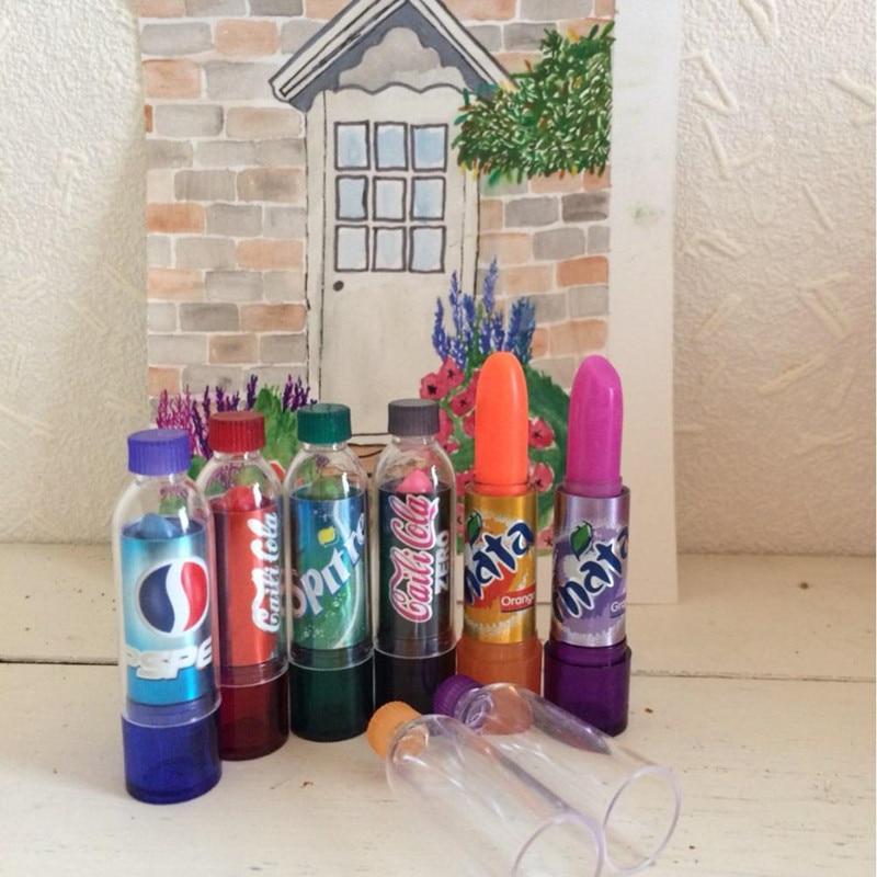 6pcs/lot Fashion Change Color Cola Lipstick Sweet Cute Moisturizer Faint Scent Lip Balm Lipstick Brand Makeup Lip Smacker
