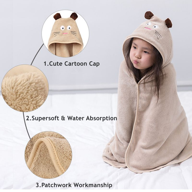 Coral Fleece Cartoon Baby Kids Bath Shower Towel Hooded Swimming Towel Children Beach Towel Canopy Blanket Travel Portable