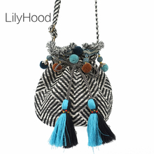 LilyHood Boho Chic Fabric Shoulder Bag Female Tribal Ibiza Hippie Gypsy Pom Pom Fringe Music Festival Bucket Soft Crossbody Bag