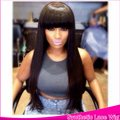 100% Brazilian Fashion Synthetic Lace Front Wig Hair Products Thin Silky Straight Hair With Bangs Lace Front Wig For Black Women