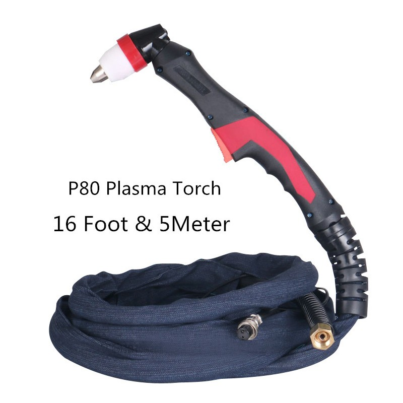 NEW P80 Plasma Torch 16Feet 5M Plasma Cutter/cutting Machine Accessories Torch Complete Head/Air Cooled Plasma Cutting100A 120A 5m new p80 plasma gun plasma cutter cutting machine accessories torch head air cooled plasma cutting100a 120a