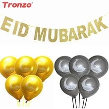 Tronzo Eid Mubarak Balóny Ramadánové dekorace 10ks Zlaté stříbrné EID balóny s EID Mubarakem Banner Muslimské Ramadánské dekorace